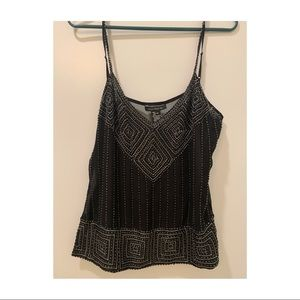 Sheer Black Tank Top with Sequins, Size L